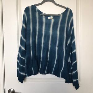 MOTH • Oversized Blue & White Tie Dye Sweater Sz L